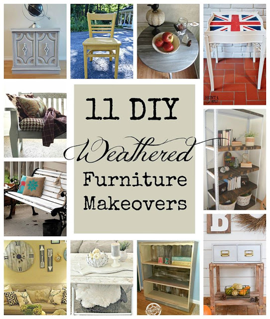 weathered painted furniture grey distressed DIY makeover