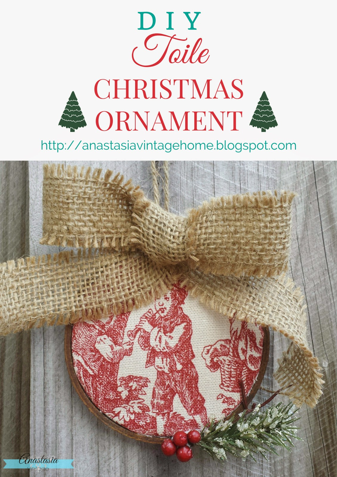 DIY Toile Christmas Ornament | Anastasia Vintage