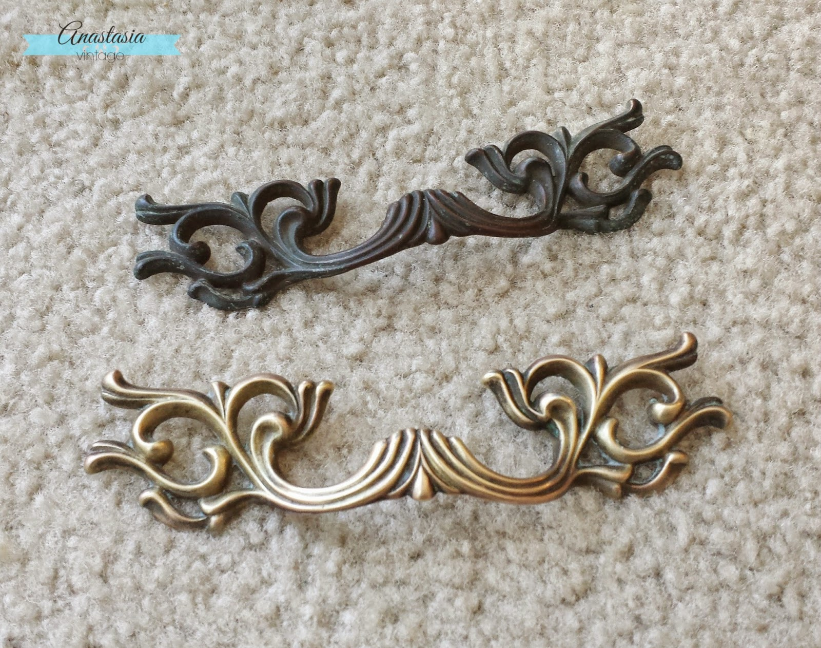 French provincial drawer handles before and after cleaning