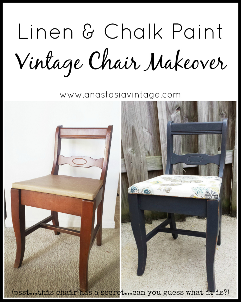 Linen Annie Sloan Graphite Chalk Paint Vintage Chair Makeover