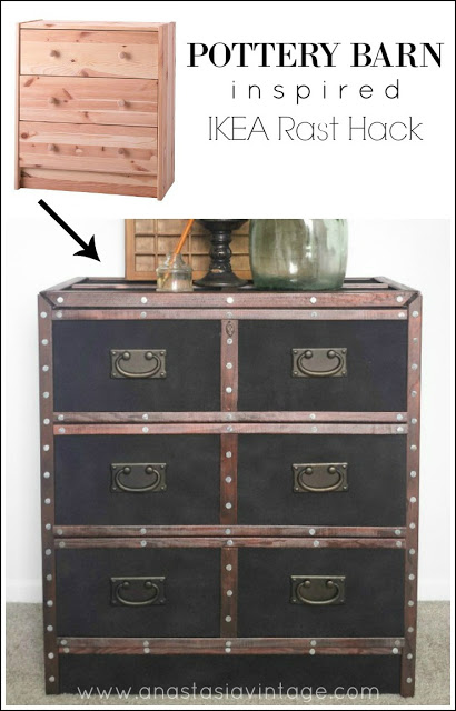 A designer-inspired look on a modest budget! See how I turned a plain IKEA dresser into a Pottery Barn-inspired masterpiece!