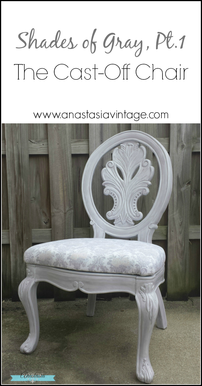 painted lilac grey vintage chair damask upholstery