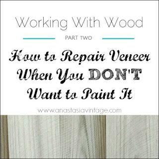 how to patch repair veneer unpainted wood furniture