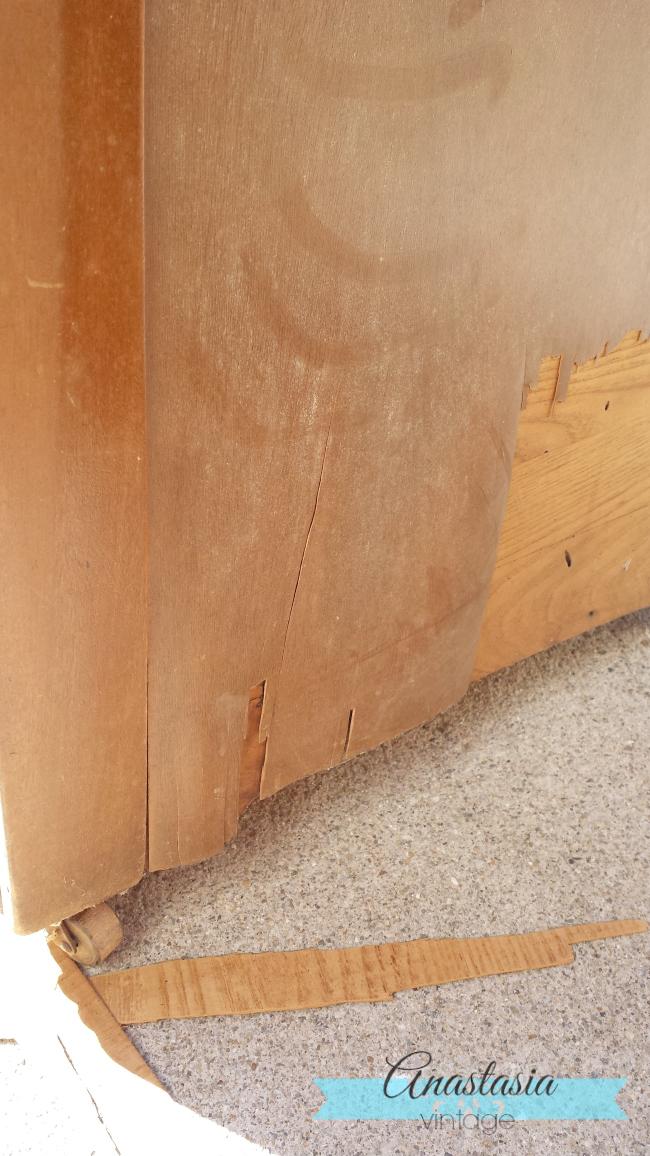 art deco vanity peeling veneer removal