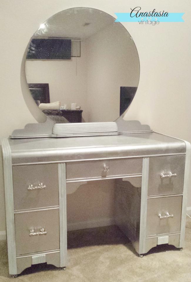 Faux Silver Leaf Art Deco Vanity with Rustoleum metallic spray paint