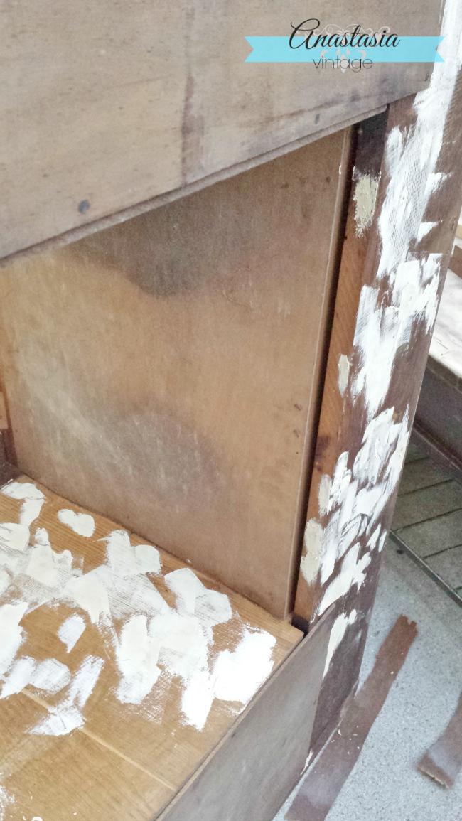 vintage art deco vanity veneer removal and wood filler