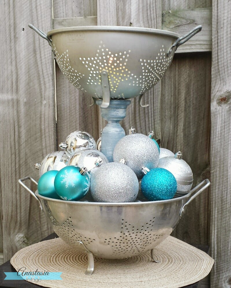 repurposed vintage colander topiary stand