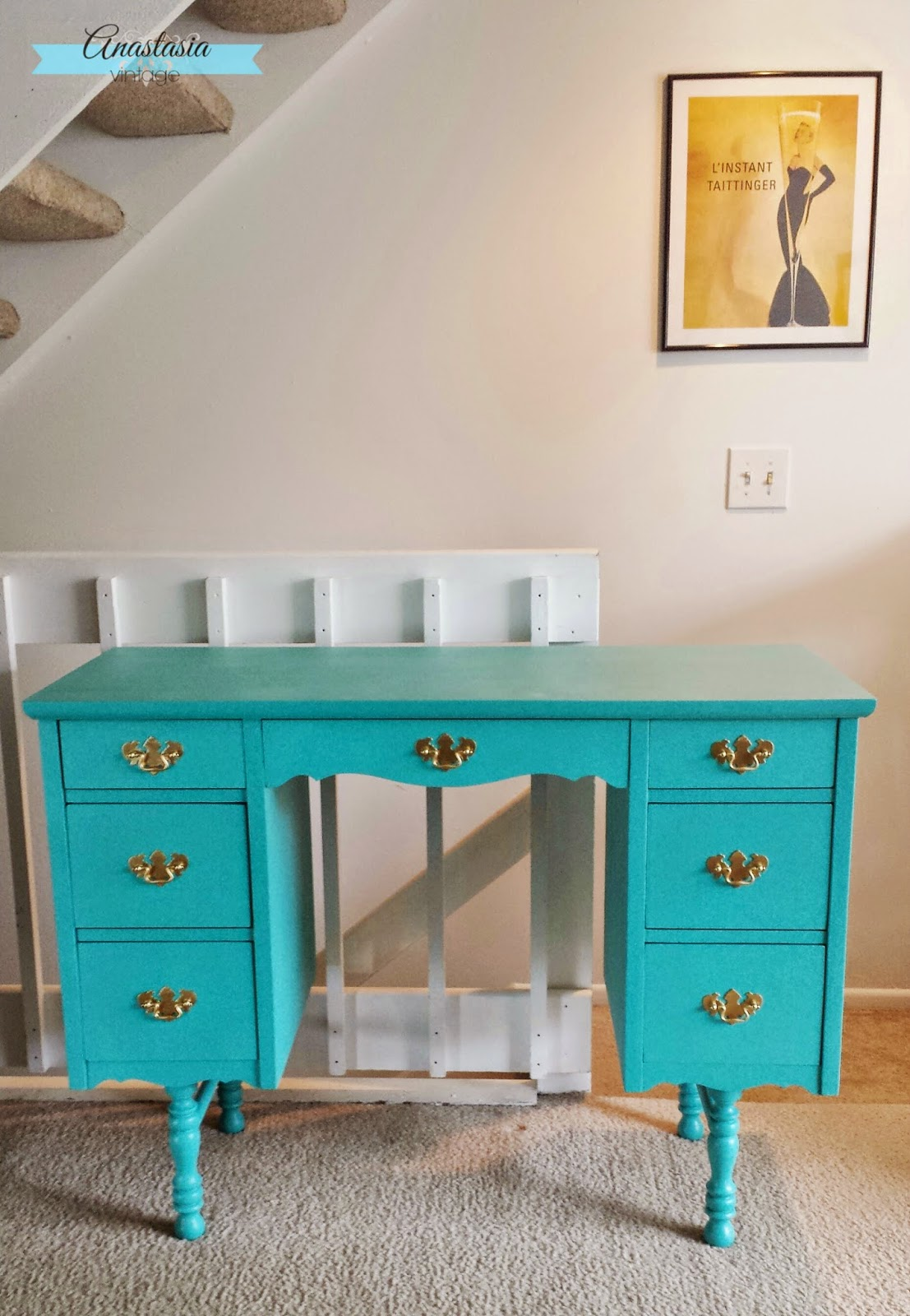 vintage vanity painted teal after photo