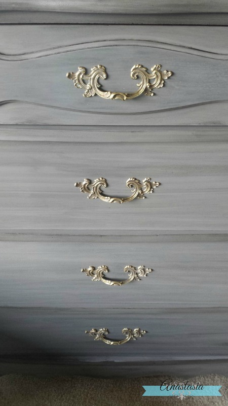 French Provincial dresser hardware on driftwood grey chest of drawers