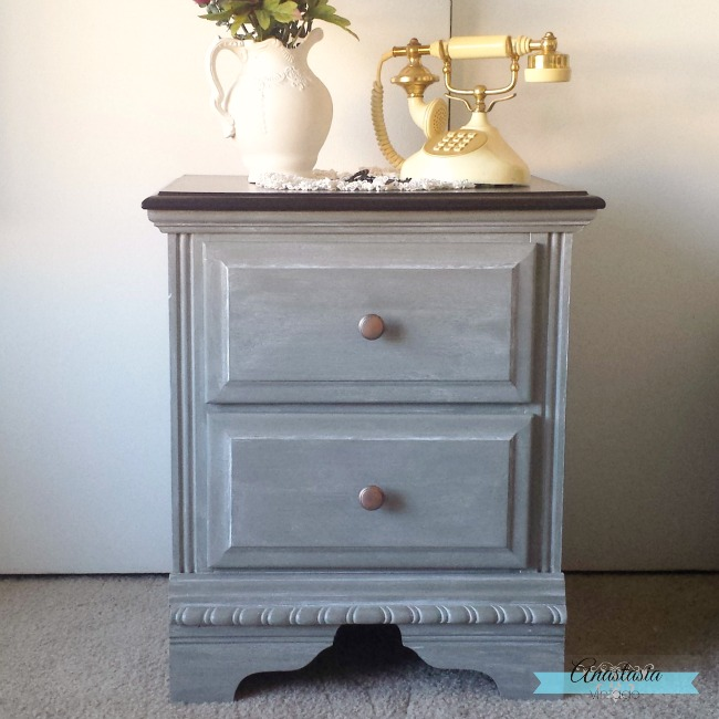 Anastasia Vintage transformed an outdated nightstand with General Finishes new Chalk Style Paint in Empire Grey - see the full makeover here!