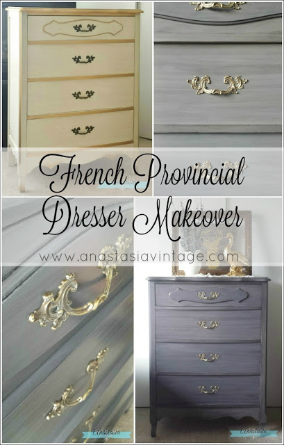 An outdated french provicial dresser brought up-to-date with General Finishes Milk Paint in Driftwood, and Pitch Black and Burnished Pearl Effects Glazes | Furniture makeover by Anastasia Vintage