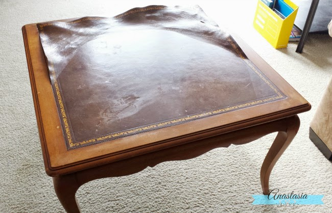 french provincial table before leather top