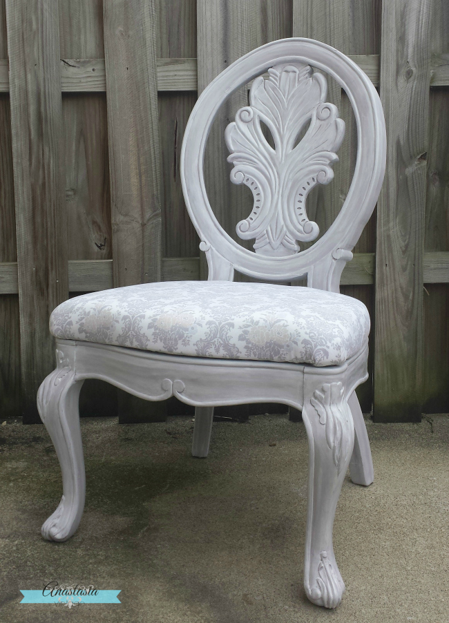 lilac painted carved wood chair damask upholstery after