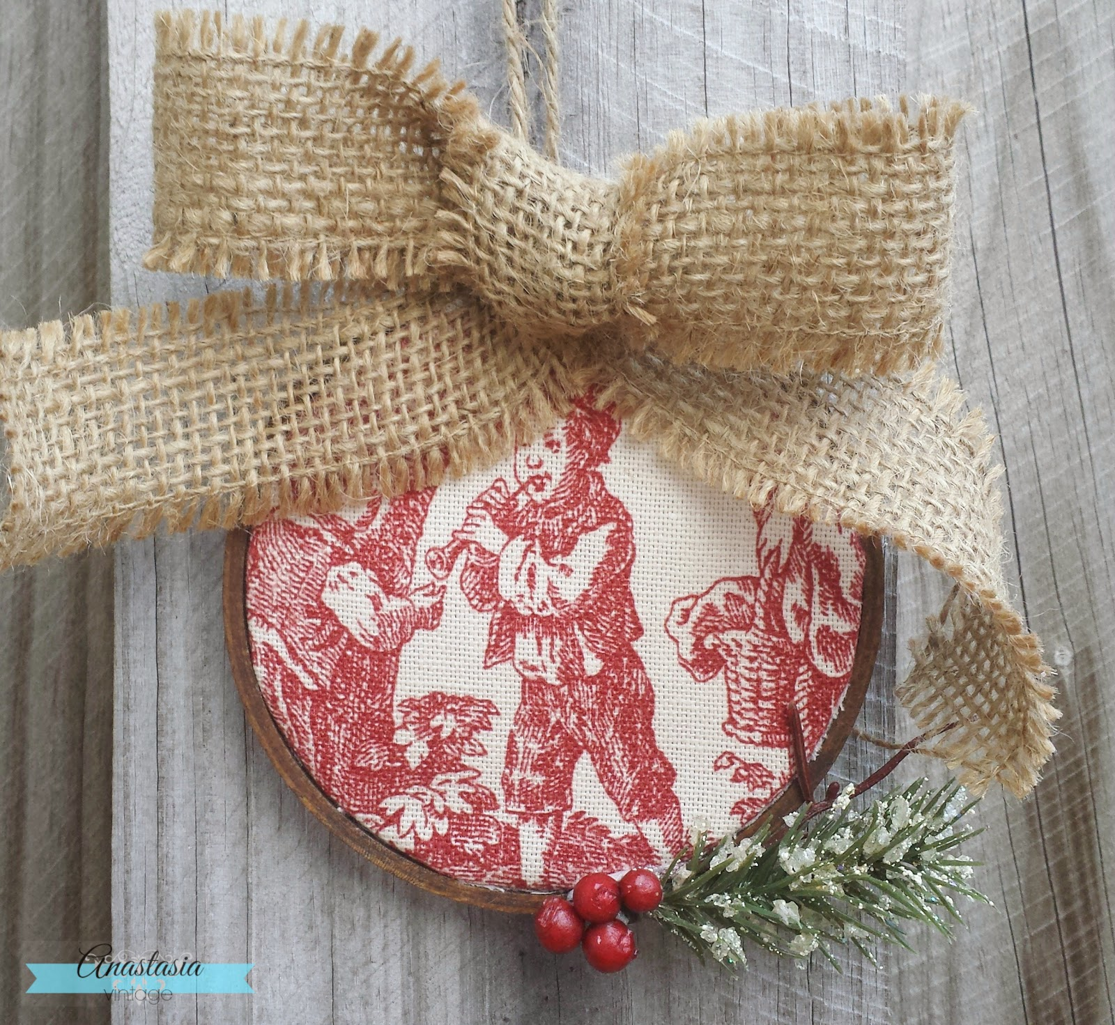 DIY Toile Christmas Ornament