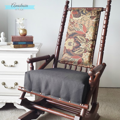 primitive rocking chair upholstered gel stain