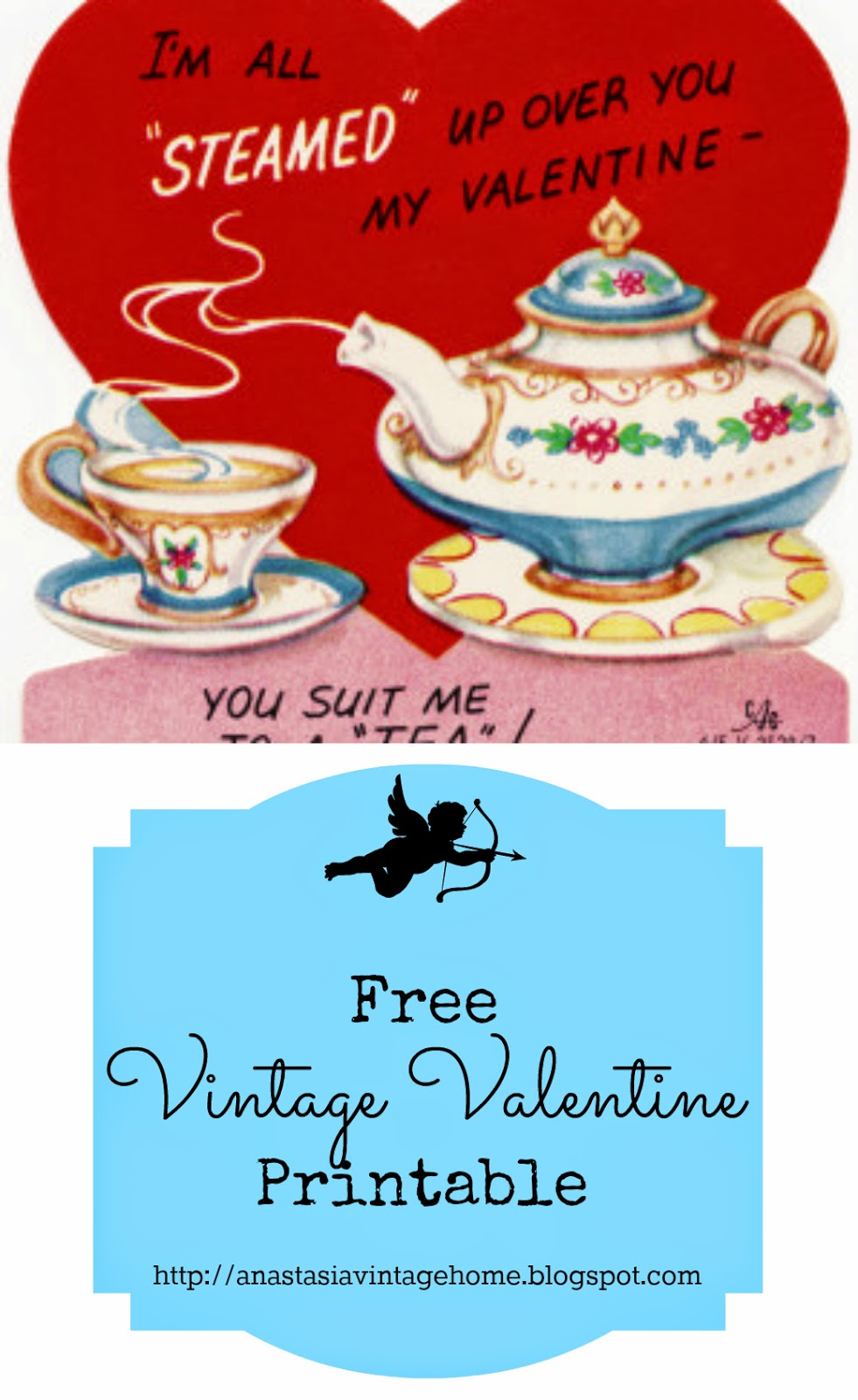 photograph relating to Free Printable Vintage Valentine Cards called Typical Valentine Printable Anastasia Basic