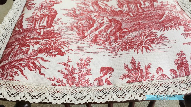 antique Victorian seat red toile fabric upholstery
